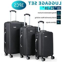 "3 PCS Set Luggage Travel Bag Carry on Trolley Suitcase 22"" 2"