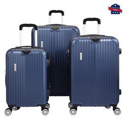 3 Piece Luggage Set Expandable Hardshell Spinner Suitcase w/