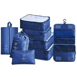 Compression Packing Cubes 8 Set Travel Luggage Organizers, 3