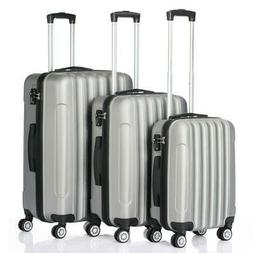 3PCS Luggage Travel Set Bag ABS Trolley Hard Shell Suitcase