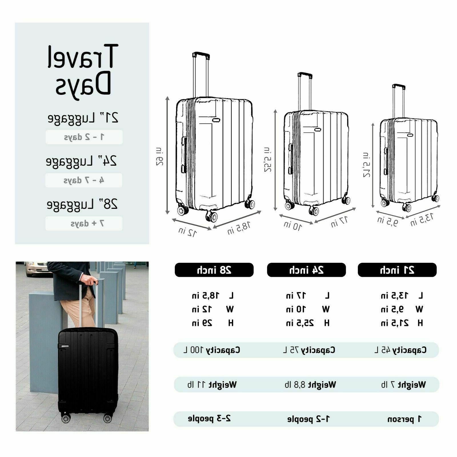 """NEW Luggage Cabin Set On BLACK ABS Spinner 30""""24""""20"""""""
