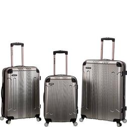 ROCKLAND  London 3-Piece Hardside Spinner Luggage Set Silver