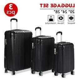 Set of 3 Luggage Set Expandable Travel Trolley Case w/TSA Lo