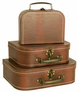 Vintage Suitcases Luggage Travel Set Antique Trunk Chest Box