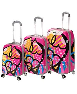 Rockland Vision Pink Heart 3-piece Hardside Spinner Luggage