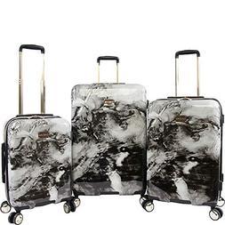 BEBE Women's Teresa 3pc Spinner Suitcase Set, Black Marble